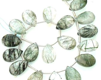 GREEN RUTILATED QUARTZ Faceted Pear Shape Briolettes, 14X9mm, Superb 4 Matched Pairs