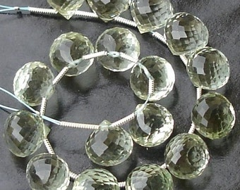 3 Matched Pair of GREEN AMETHYST Micro Faceted Onions Shape Briolettes, Best AAA Quality, 11X11mm,.