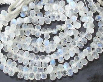 Finest Quality,SUPER-Blue Flashy Rainbow Moonstone Micro Faceted Drops Briolettes,Great Price Item 7-8mm Size
