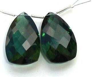 2 Pieces MATCHED pair of 25-25mm Long GREEN QUARTZ faceted Fancy Shaped Briolette (Extremely Beautiful Pair )