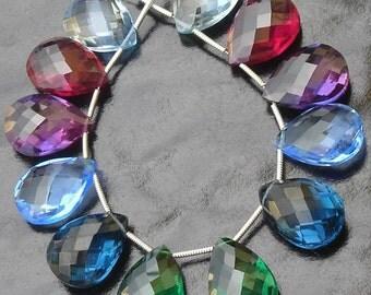 6 Matched pair, Amazing Colors MULTI Quartz,SO Beautiful AAA 6 Rare Colors Pear Shape Briolettes,Great Item