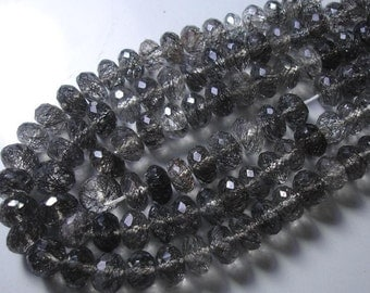6-7mm,Superb Quality BLACK RUTILATED Quartz Faceted Rondells in size of 6-7mm,Great Item