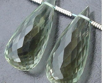 AAA Quality, 25mm Long GREEN AMETHYST Micro Faceted Elongated Drops Shape Briolettes,Great Price Rare Item