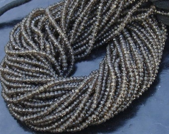 Latest Arrival, SMOKY QUARTZ, Full 14 inch Strand Of Manufacturer Price Rondells , Machine Cut Quality Full 14 Inch Long Strand