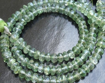 Full 8 Inch Long Strand, 5mm, Stunning MYSTIC GREEN TOPAZ Faceted Rondells,Finest Quality