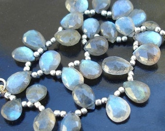 Blue Flashy Labradorite  Faceted Pear Shape Briolettes in size of 10-12mm approx,Nice Quality