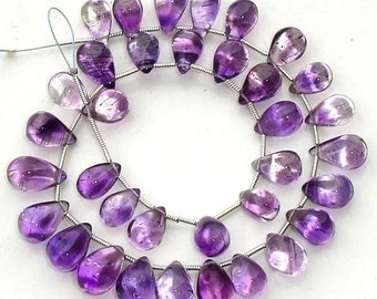 Superb-Finest 17 Pcs of High Quality MOSS AMETHYST Smooth Drops Shape Briolettes, 9-11mm Long