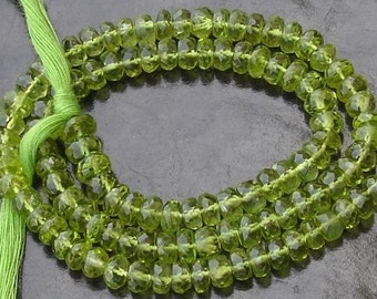 Huge Rare 5.5mm, Gorgeous Quality PERIDOT Micro Faceted Rondells,Full 14 Inch Long Strand Strand,Very Nice Quality