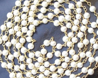 925 Sterling SILVER, 14K Gold Plated Smooth 4mm Size Fresh water Pearls Silver Chain,Great Item for Designers