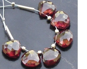 3 Matched pair of Gorgeous Item,Best AAA Quality, 8X8mm, MOZAMBIQUE GARNET Faceted Heart Briolettes,Best Matched Pairs