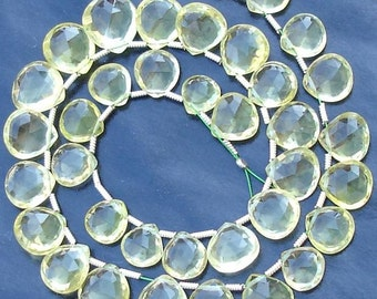 wholesale Price Offer,, 30 Pieces, Full Strand, 8-10mm, Superb-Finest, GREEN LEMON QUARTZ Faceted Heart Shape Briolettes
