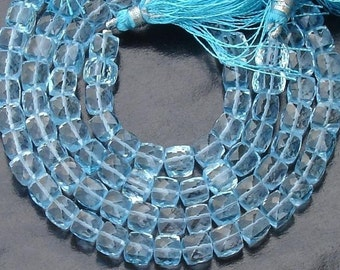 Full 2x6 Inch Strand, Fine Quality,Blue Topaz Faceted 3D Cubes Beads,6mm Size,AA Quality Best Price