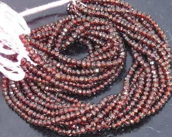Latest Arrival, MOZAMBIQUE RED GARNET,Full 14 inch Strand Of Manufacturer Price Rondells , Machine Cut Quality Full 14 Inch Long Strand