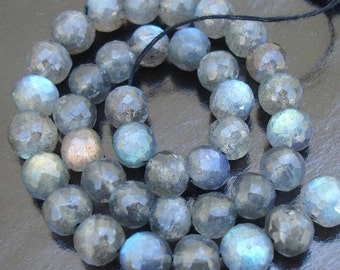 6mm size, 8 Inch Strand OF Rare Blue flashy Labradorite Faceted Round BALLS  Beads 30 pieces
