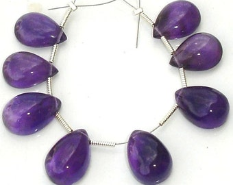 All Same Size, Rare AFRICAN AMETHYST Smooth CABACHONS Pear Shape Briolettes, 8 Pcs 14X10mm long African Amethyst Pear