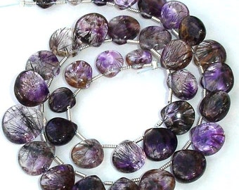 Last Strand, Truly Rare 25 Pcs of High Quality MOSS AMETHYST Smooth Heart Shape Briolettes
