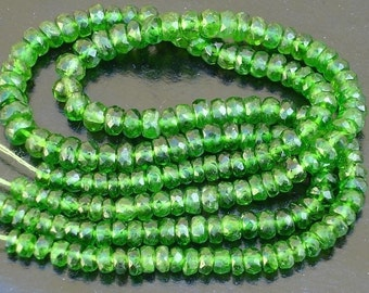 Gorgeous Item, AAA CHROME DIOPSIDE Micro Faceted Rondells, 8 inches Long Strand, 4 -4.5mm Best Price