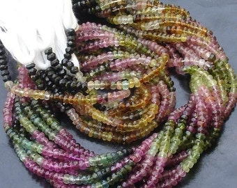5x14 Inch,SUPER FINEST-aaa Quality,Multi Tourmaline Micro Faceted Rondells,Reduce from 140