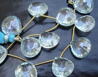 17x17mm Size,MYSTIC Aquamarine Blue Quartz CONCAVE Cut Faceted Heart Shape Briolettes Matched Pair,