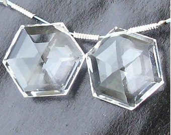AAA Quality, 17x17mm Long Rock CRYSTAL QUARTZ  Faceted 6 Top Star Shape Briolettes,Matched Pair