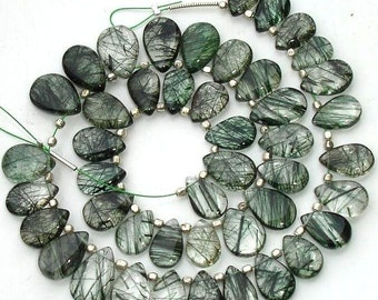 7 Inch Strand, Extremely Green Rutilated Quartz Smooth Pear Shape Briolettes, 9-10mm Long,Great Quality at Wholesale Price .