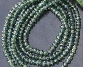 AAA Quality,Gorgeous Mystic GREEN QUARTZ Micro Faceted rondelles 14 inches strand 4mm,Great Value Item