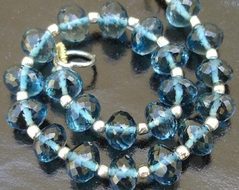 1 Day Offer,Finest Quality LONDON BLUE TOPAZ Micro Faceted Roundells, 30 Pieces-6-7mm,Reduce From 295