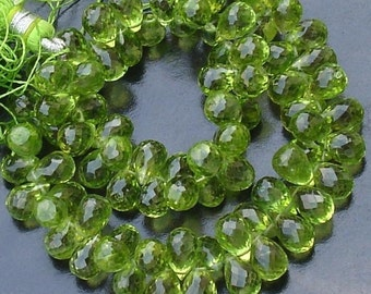 Wholesale Offer ,AAA Quality  PERIDOT Faceted Drops Shape Briolettes,30 Pieces, 7-8MM Long Size,.Great Price