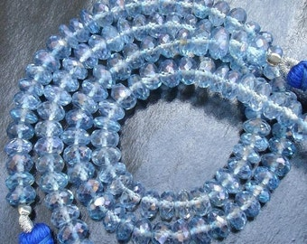 Full 8 Inch Long Strand,5mm, Stunning MYSTIC BLUE TOPAZ Faceted Rondells Shape Beads,Best Quality
