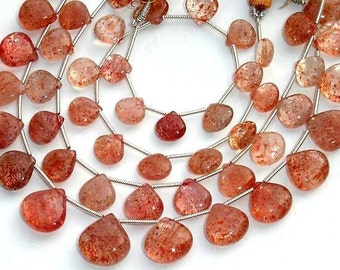 AAA Quality,Gorgeous Sparking Sunstone Smooth Heart Shape Briolettes, 17 Pieces, 9-10mm Larger Size,Great Price Item
