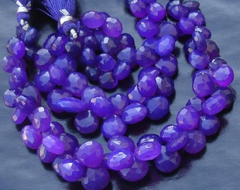 8mm Heart, Full 6 Inches Strand, Rare Light Amethyst Purple Chalcedony Faceted Heart Briolettes,GORGEOUS.