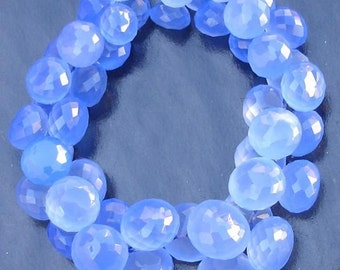 2x6 Inches Strand,Wholesale Offer, Cobalt Blue Chalcedony Micro Faceted Onions Briolettes,7-9mm Long size,GORGEOUS.