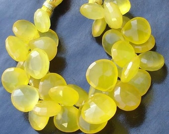 ALL 12X12MM Full 6 Inches Strand, YELLOW Chalcedony Faceted Heart Briolettes,GORGEOUS.