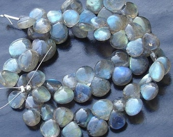 7 inch Strand, Extremely Blue Flashy Labradorite Smooth Heart Shape Briolettes, 8-9mm Long,Great Quality at Wholesale Price .