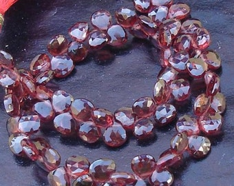 8 Inch Long Strand, Pyrope Red Garnet Faceted Heart Shaped Briolettes, 5-6mm Long size,GORGEOUS