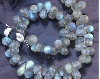 8 Inch Long Strand, Blue Flashy Labradorite Faceted DROPS Shaped Briolettes, 8-9mm Long size,GORGEOUS