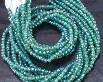 14 Inch Long Strand, Rare Colour Mystic GREEN Quartz Faceted Rondells, 4mm size,Gorgeous Item