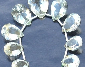 AAA Quality,Green AMETHYST Faceted Cut Stone Pear Shaped Briolettes, 11-16mm Long size, 9 Pieces,GORGEOUS
