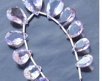 AAA Quality,Purple AMETHYST Faceted Cut Stone Pear Shaped Briolettes, 11-16mm Long size, 11 Pieces,GORGEOUS