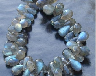 1/2 Strand, Blue Flashy Labradorite Faceted DROPS Shaped Briolettes, 9-11mm Long size,GORGEOUS