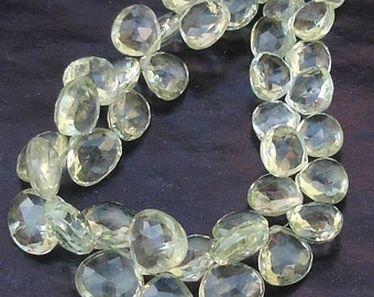 1/2 Strand, Super Quality,Green Amethyst Faceted Heart Shaped Briolettes, 10-12mm Long size,GORGEOUS