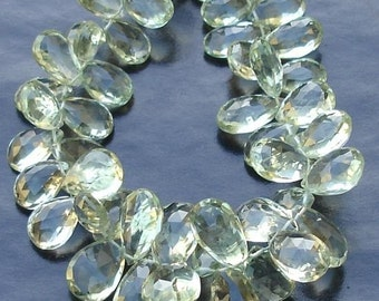 150 Cts,8 Inch Strand,Very-Very-Finest Quality AAA,Green Amethyst Faceted PEAR Shaped Briolettes, 11-12mm Long size,GORGEOUS
