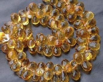 200 Cts,One DAY SALE,Wholesale Offer, Gorgeous CITRINE Micro Faceted Drops Shaped Briolettes, 8-9mm Long,Great Price