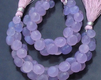 2x6 Inches Strand,Wholesale Offer, LAVENDAR Blue Chalcedony Micro Faceted Onions Briolettes, 8-10mm Long size,GORGEOUS.
