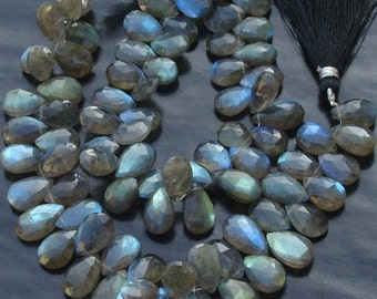 1/2 Strand,Very-Very,Finest, Blue Flashy Labradorite Faceted PEAR Shaped Briolettes, 9-11mm Long size,Promotional Price