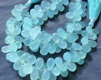 6 Inches Strand, Peru Aqua. Blue Chalcedony Micro Faceted Drops Briolettes,11-12mm Long size,GORGEOUS.