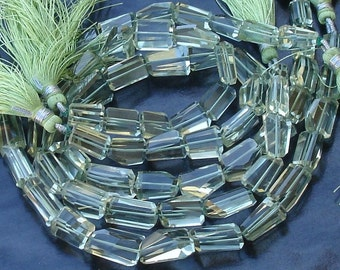 8 Inch SUPER-FINEST BRAZIL Green Amethyst Step Cut Faceted Nuggets, 12-14mm Long size.