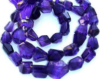 9  Inch Long Full Strand, Super Shiny African  Amethyst Step Cut Faceted Nuggets, 10-14mm Long size,GORGEOUS