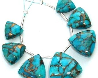 3 Matched Pair and 1 Focal Piece of Truly Rare Pcs of Unique BLUE Colour MOJAVE Turquoise Smooth Trillion Briolette, 10-16mm Long.