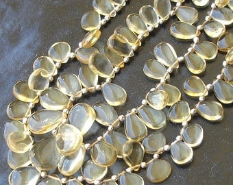 1/2 Strand, Citrine Smooth Pear Shaped Briolettes,9-12mm Size,Great Quality
